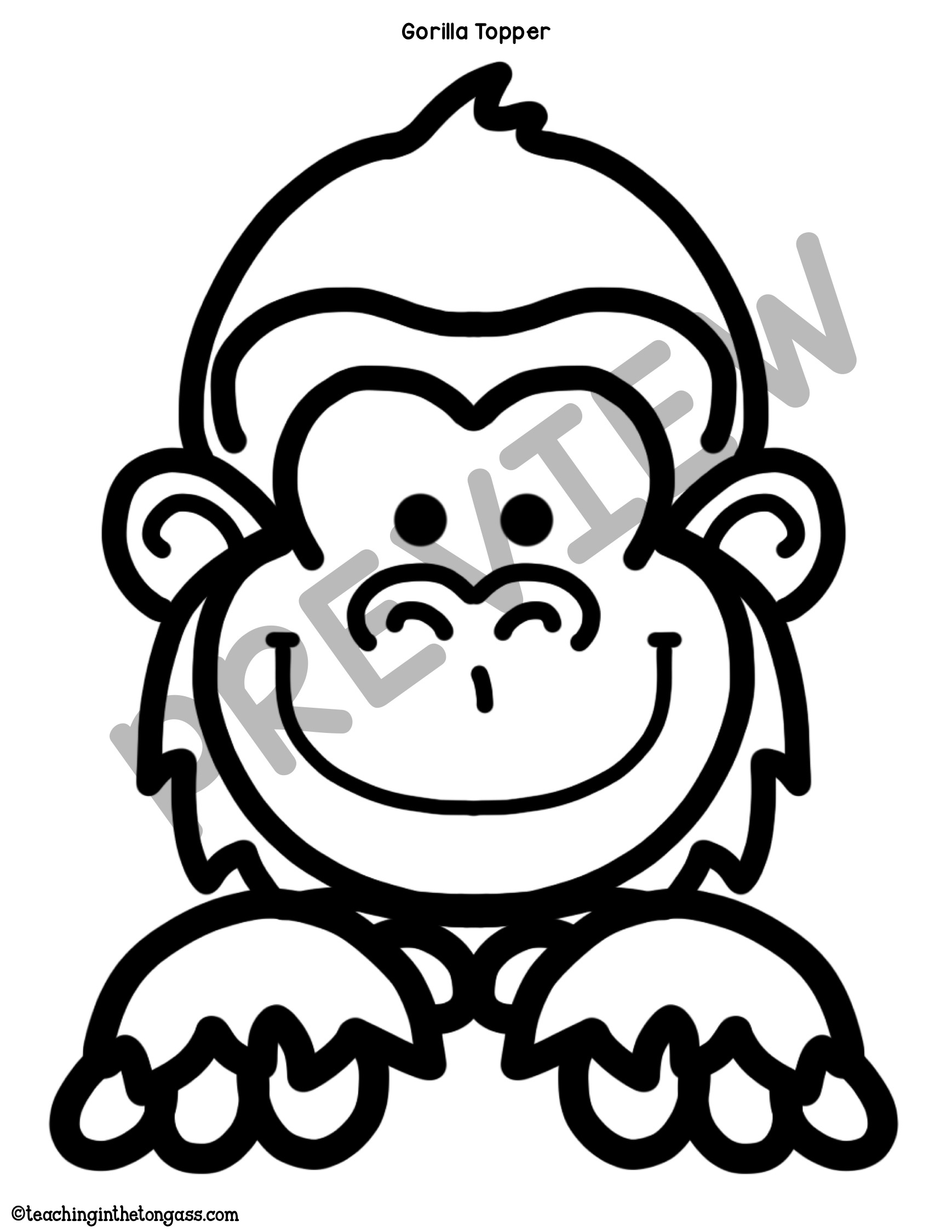 1738x2249 gorilla craft chimpanzee craft
