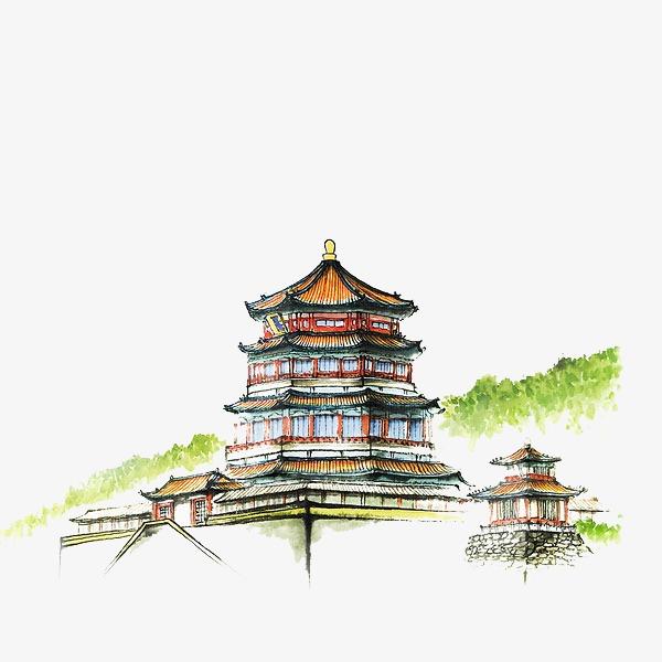 600x600 Drawing Architecture, Watercolor, Pavilion, Building Png Image