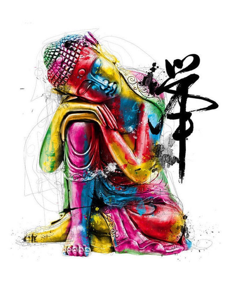 794x998 Abstract Print Colourful Buddha Oriental Asian Picture Etsy