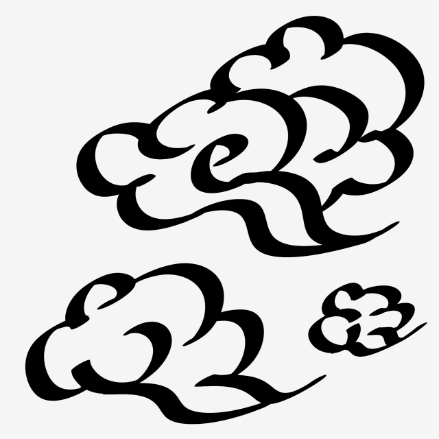 640x640 Ancient Style Hand Painted Chinese Style Ink Cloud Cloud Element