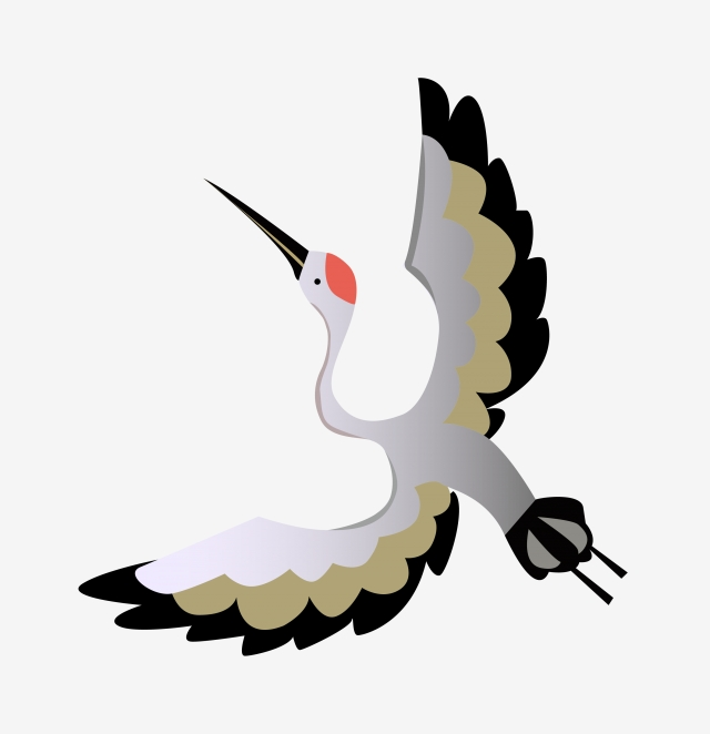 640x662 chinese style hand painted fly crane, line, cartoon, flying crane
