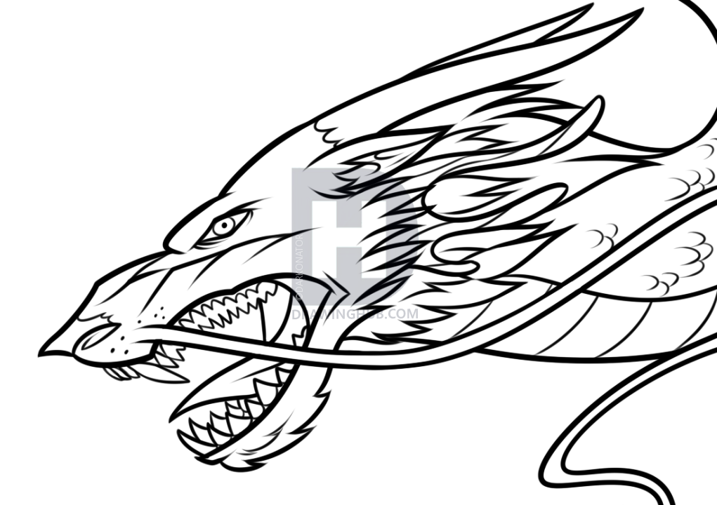 1021x720 Drawing A Chinese Dragon Head, Step