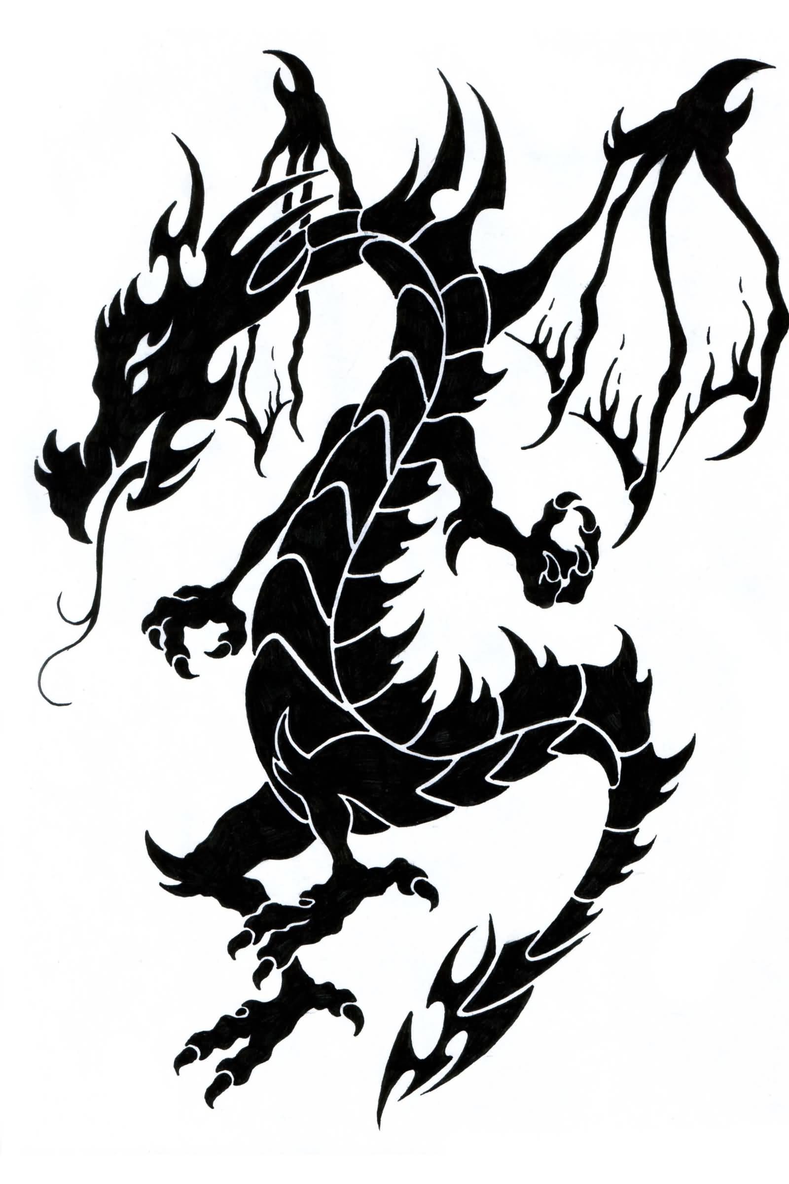 1600x2400 Latest Tribal Dragon Tattoos Designs
