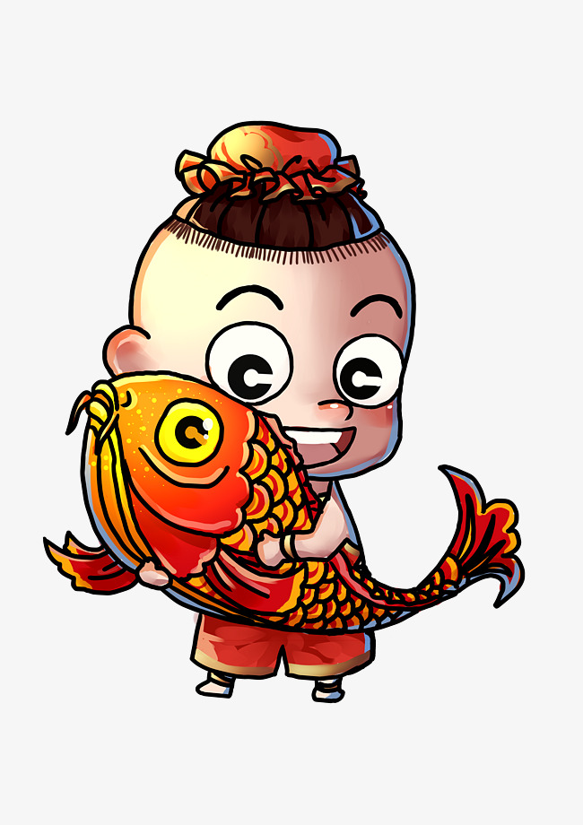 650x920 Chinese New Year Golden Boy Fish Image
