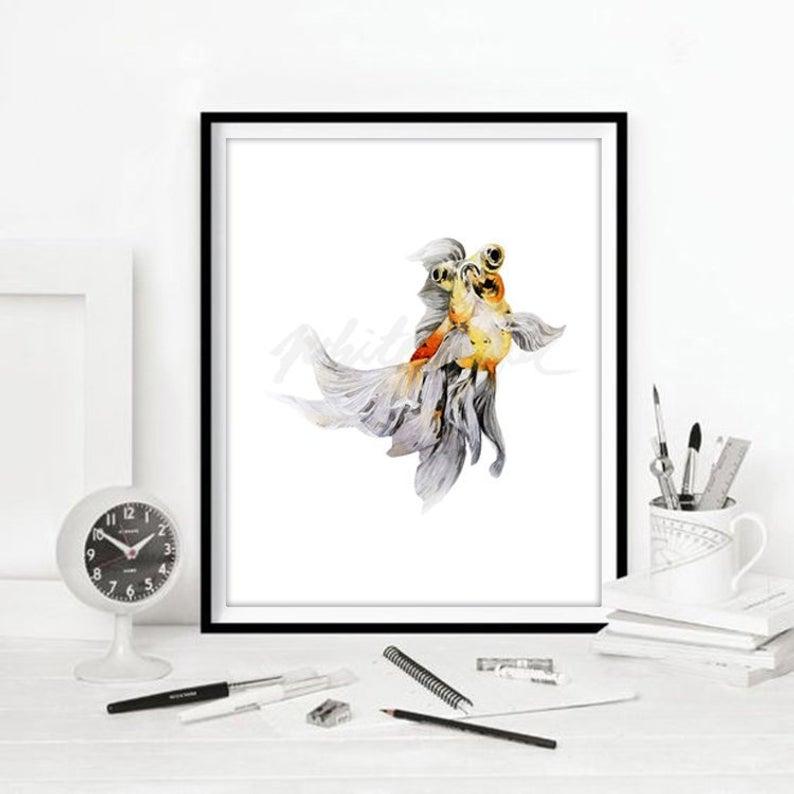 794x794 Goldfish Art Print Yellow Black Chinese Fish Watercolour Etsy