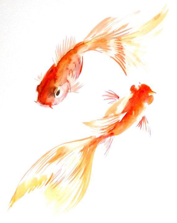 570x719 Goldfish Original Watercolor Painting X