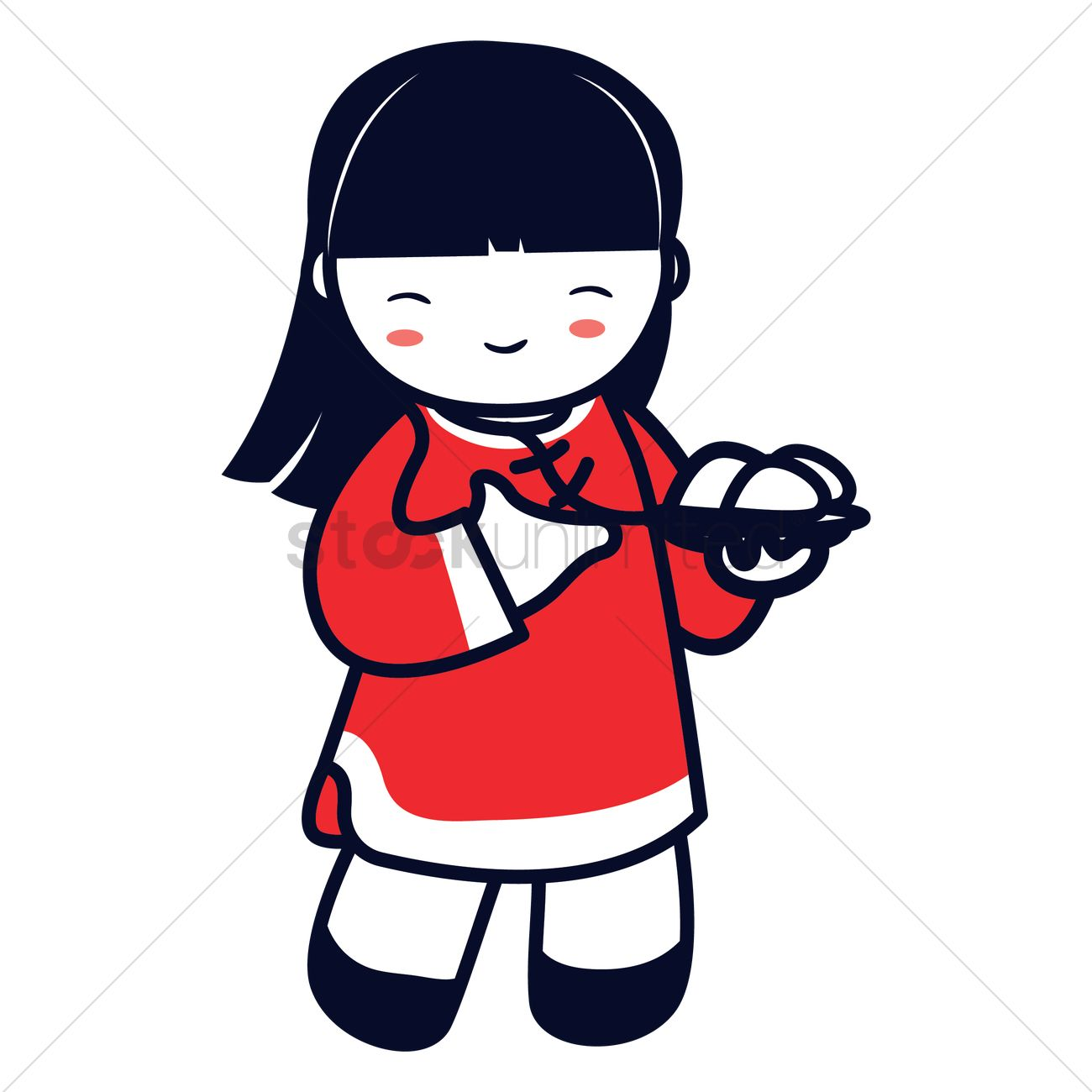 1300x1300 Chinese Girl Holding Plate Of Rice Balls Vector Image