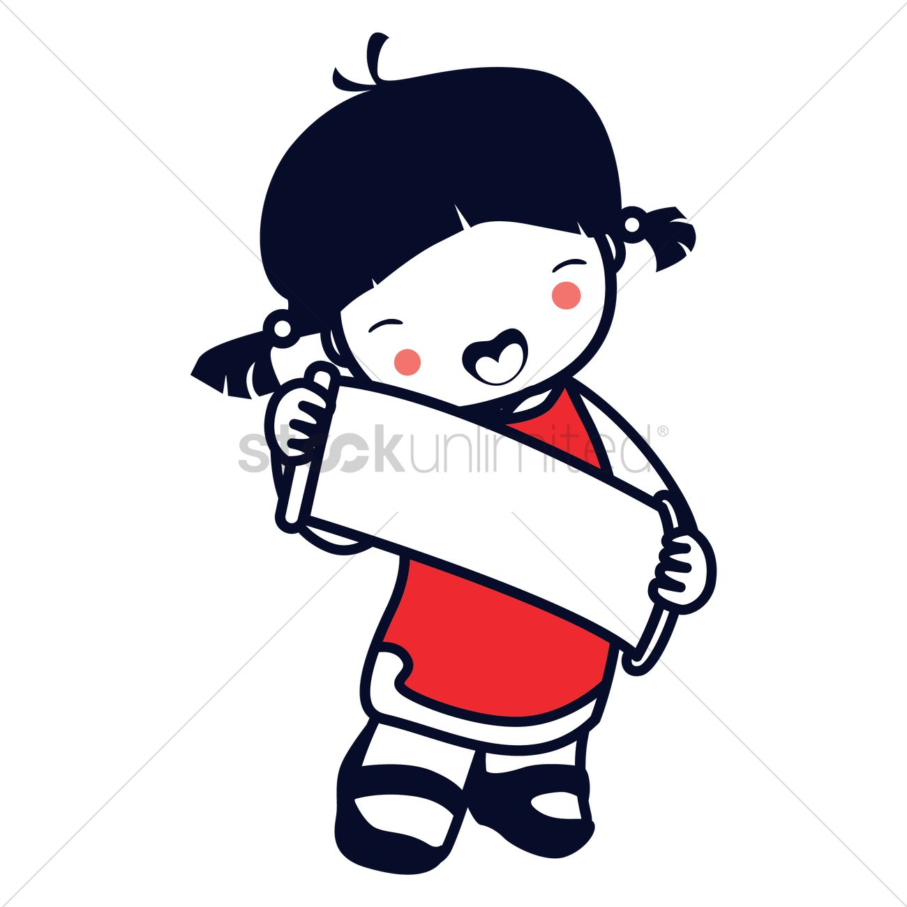 1300x1300 Chinese Girl Holding Scroll Vector Image
