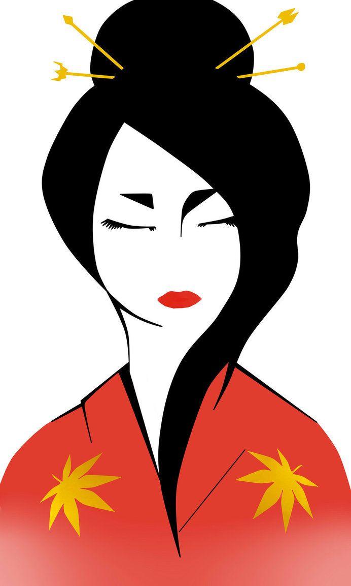 692x1153 Geisha Draw Japanese Kimonos
