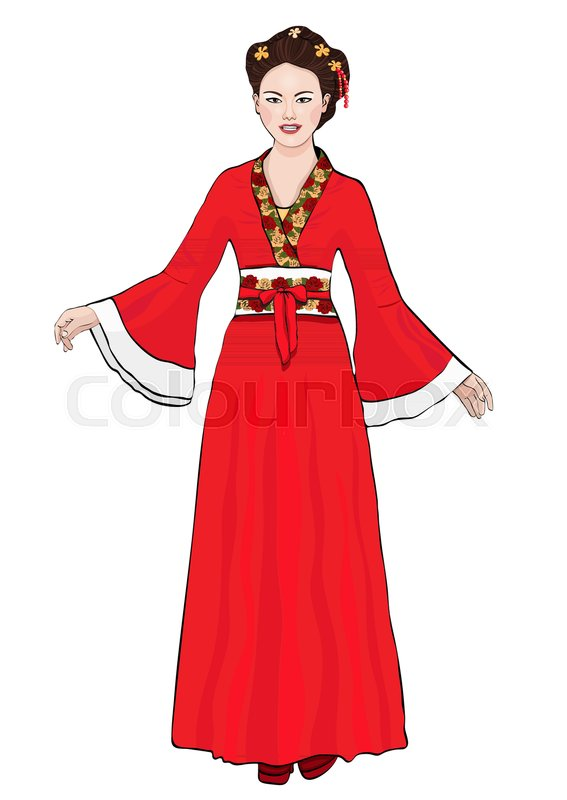 567x800 Girl In Chinese National Costume Stock Vector Colourbox