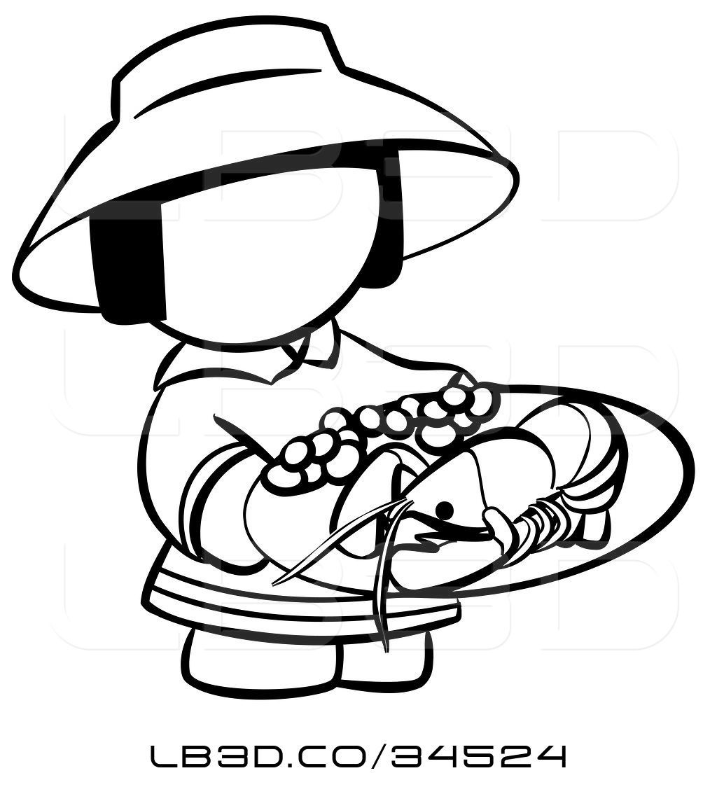 1024x1124 Vector Illustration Of Black And White Human Factor Chinese Girl