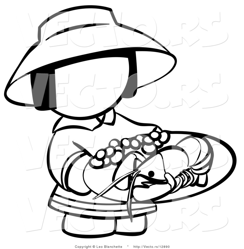 1024x1044 Vector Of Chinese Girl With A Plate Of Seafood