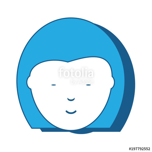 500x500 Cartoon Chinese Girl Face Icon Icon Over White Background, Blue