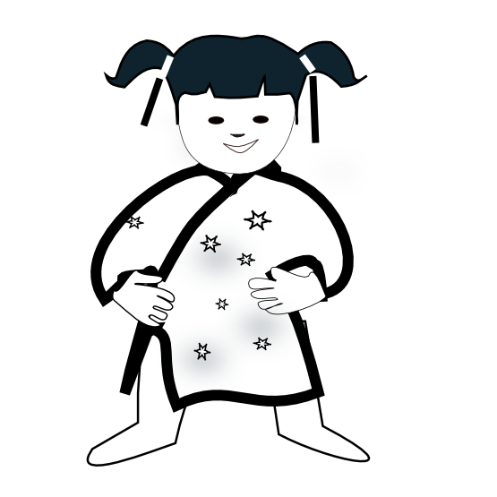 555x555 Clip Art Chinese Girl Icon Black White