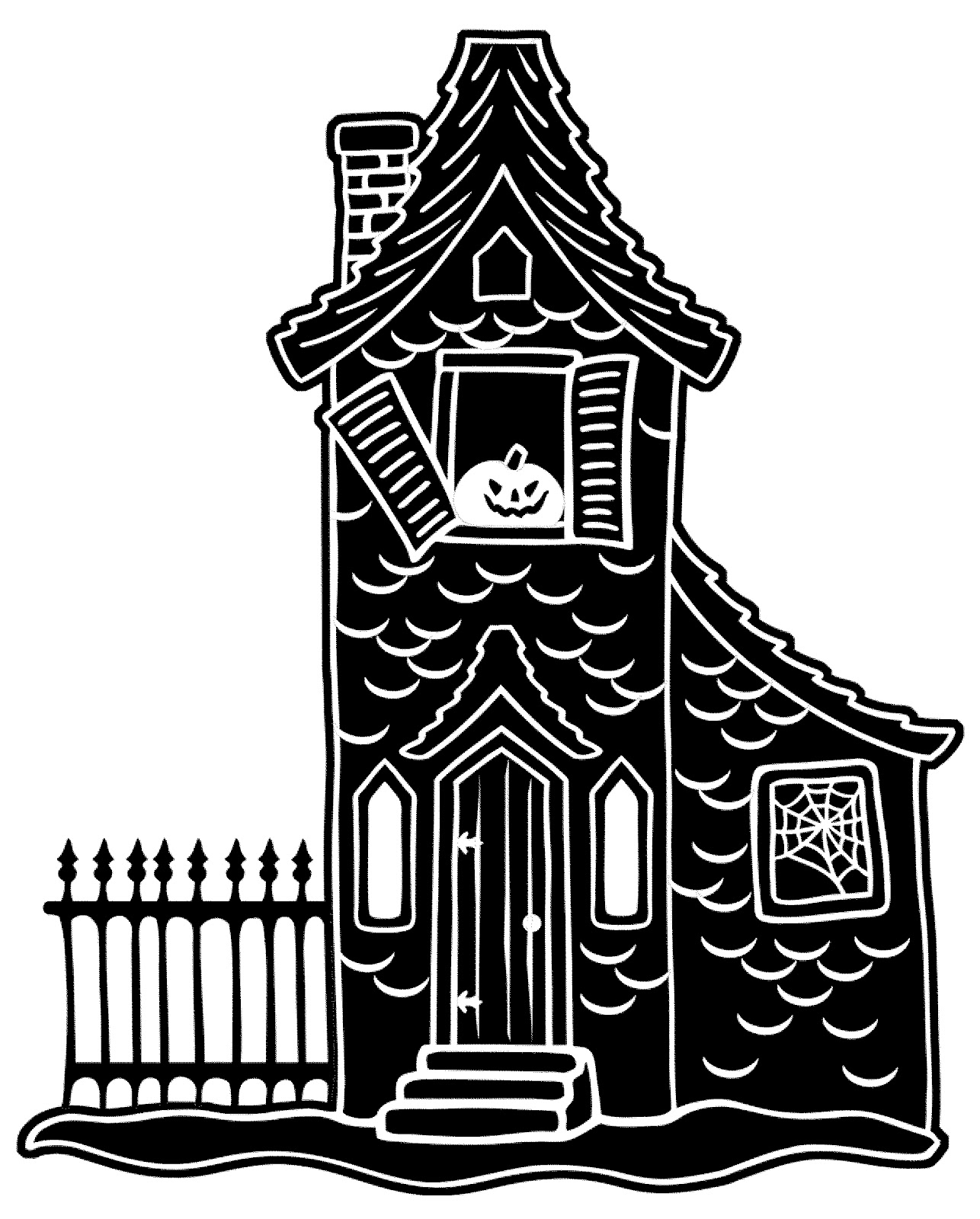 1286x1600 Haunted House Clipart Colored Pencil