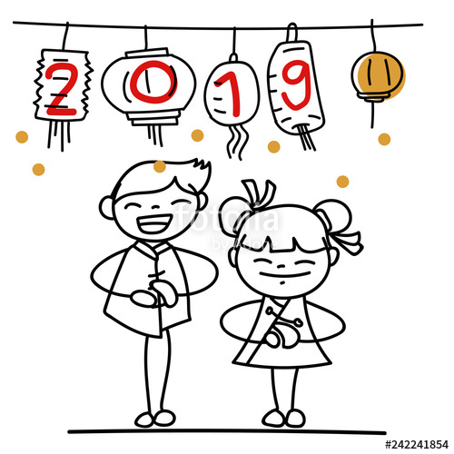 500x500 Hand Drawing Cartoon Character People Happy Chinese New Year