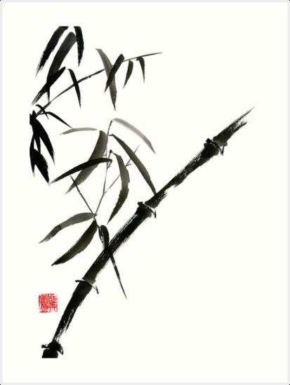 413x549 Bamboo Japanese Chinese Sumi E Suibokuga Tree Watercolor Original