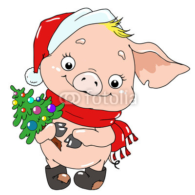 400x400 Sweet Pig With A Christmas Tree Pig Cartoon Character