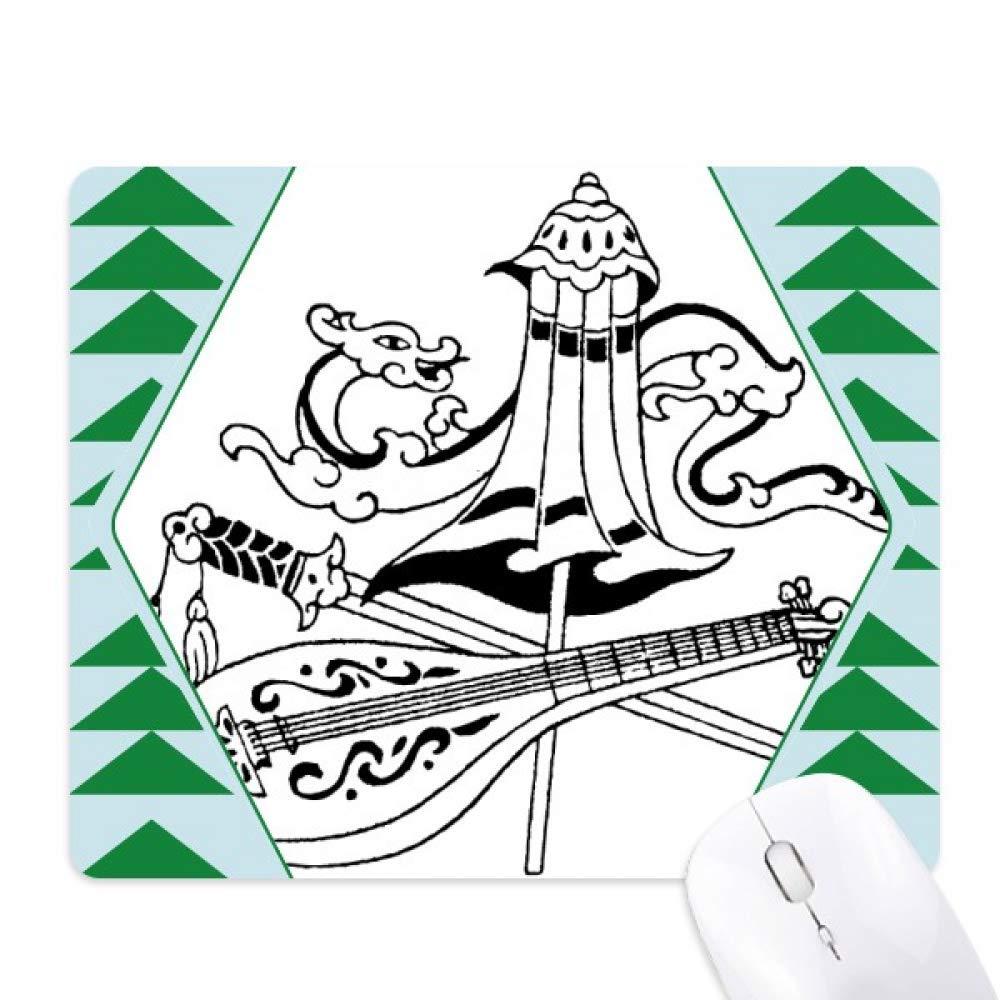1000x1000 Chinese Umbrella Sword Dragon Drawing Mouse Pad Green