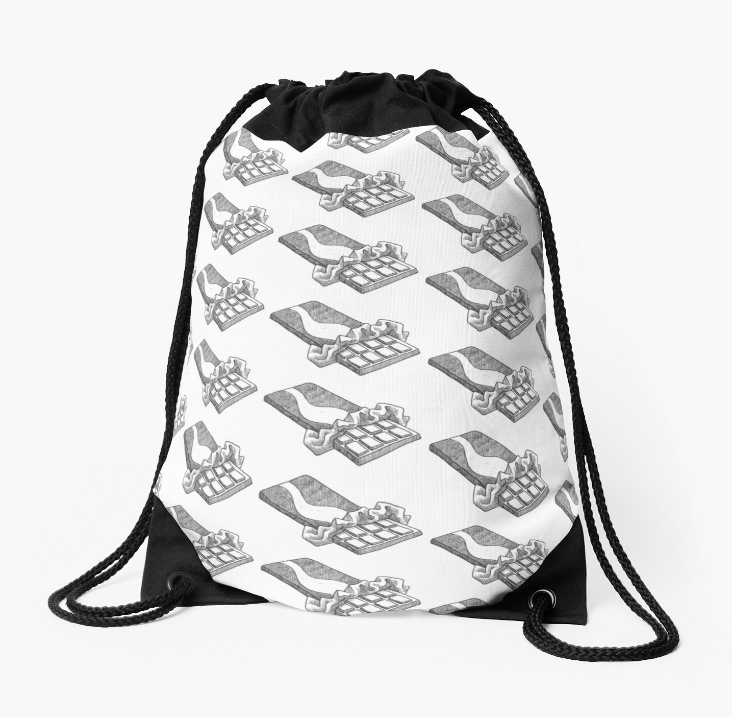 1435x1404 Chocolate Bar Drawing Drawstring Bag
