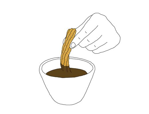 520x396 Churros With Chocolate, Drawing
