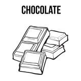 160x160 Pieces Of Dark Chocolate Bar, Sketch Style Vector Illustration