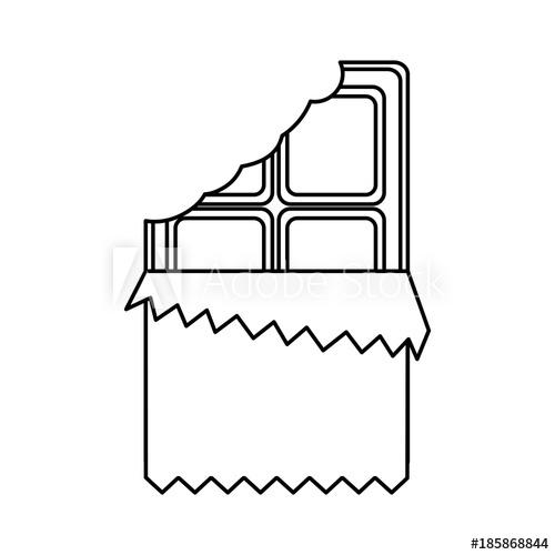 500x500 Chocolate Bar Bitten In Packaging Blank Vector Illustration