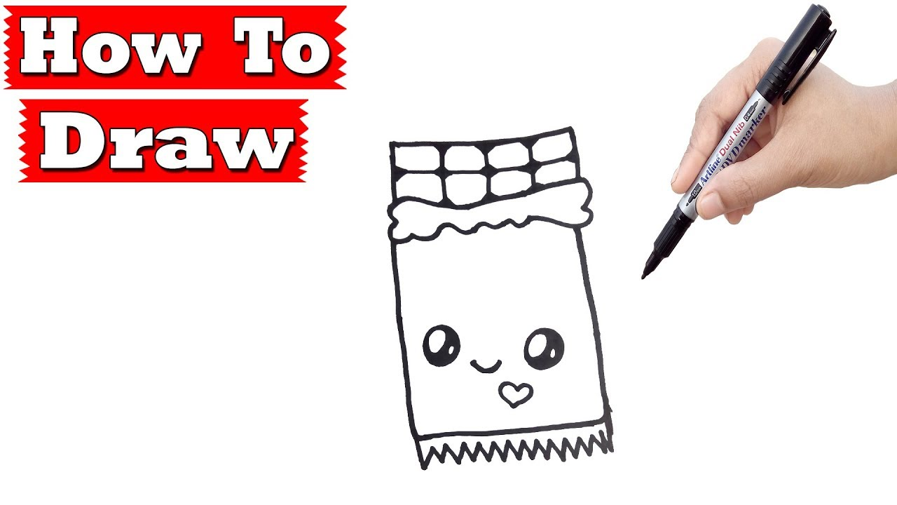 1280x720 Drawing Tutorial How To Draw A Cute Chocolate Bar Easy Step