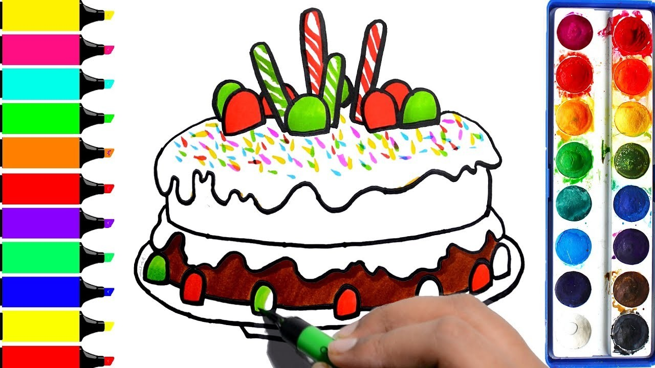 1280x720 Draw Christmas Candy Cake, Chocolate Cake Coloring Pages, Learn
