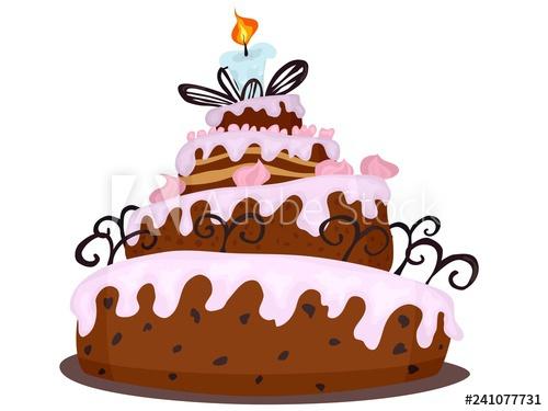 500x375 Big Chocolate Cake With Cream Drawing Cartoon