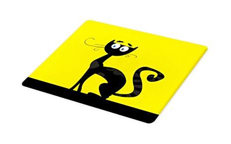 466x290 Lunarable Cat Cutting Board, Cartoon Style Drawing