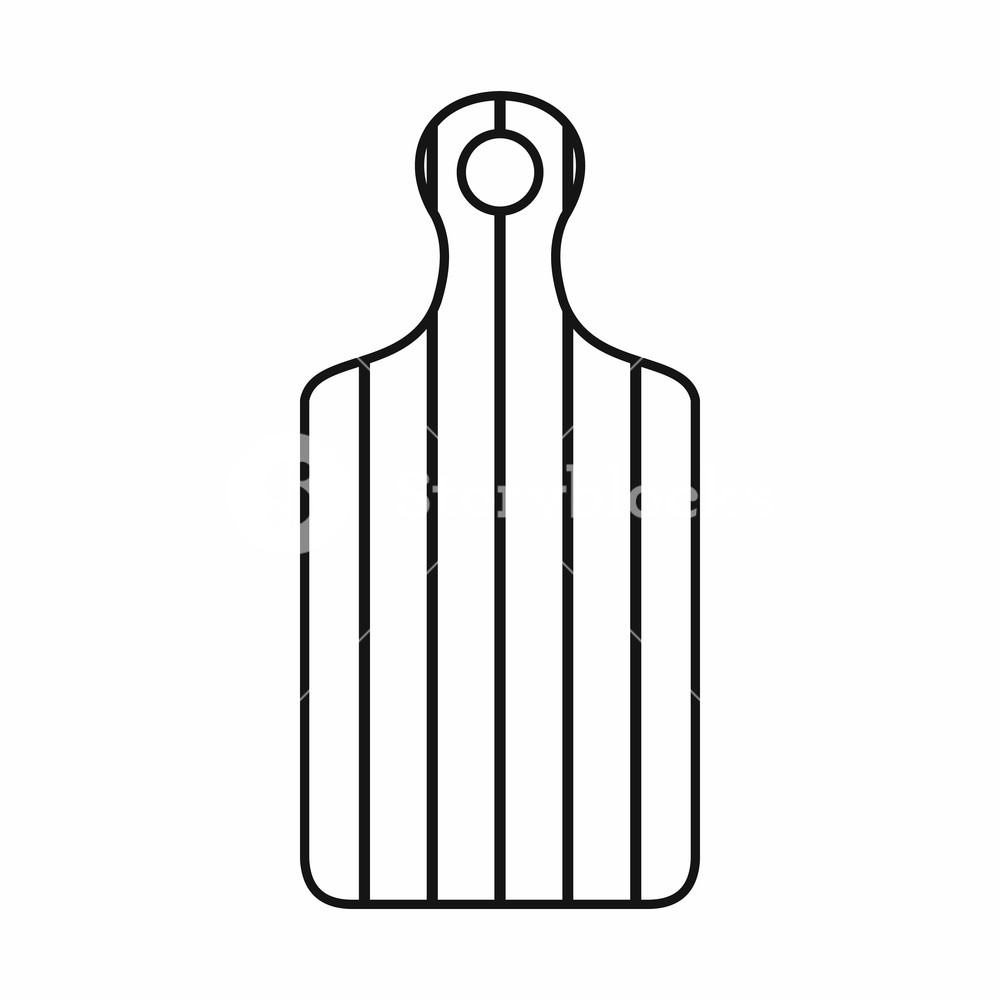 1000x1000 Cutting Board Icon In Outline Style Isolated Illustration Royalty