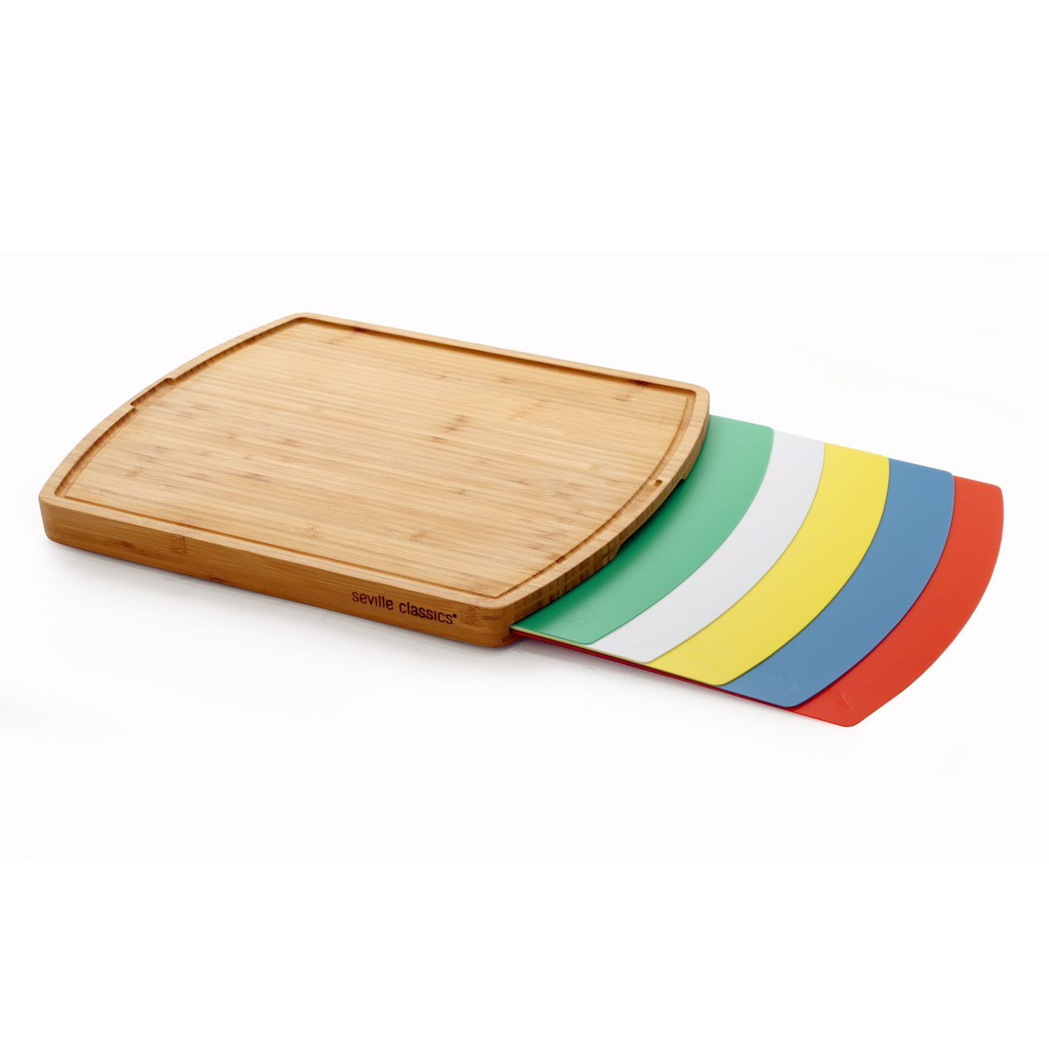1500x1500 Seville Classics Multicolor Bamboo Cutting Board With Mats
