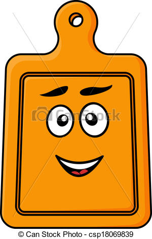 300x470 Smiling Wooden Kitchen Chopping Board Cartoon Vector Illustration