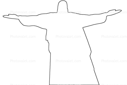 418x279 christ the redeemer outline, statue, landmark, jesus christ, line