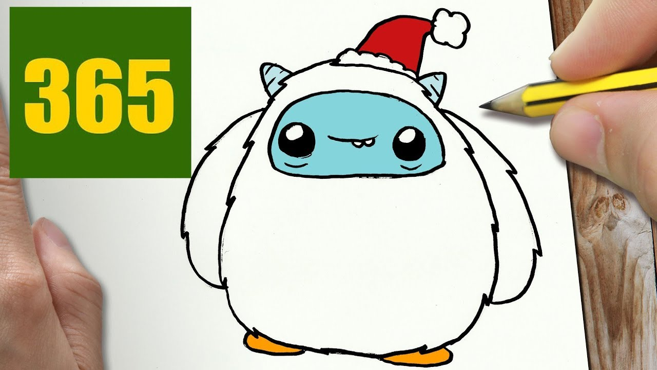 1280x720 how to draw a yeti christmas cute, easy step