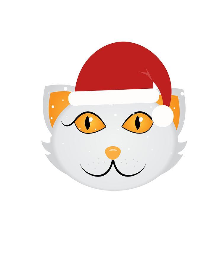 750x900 Christmas Cat In Santa Hat Drawing