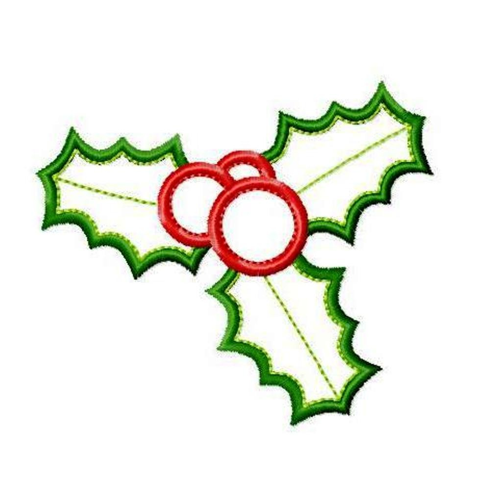 998x1000 Christmas Holly Applique Machine Embroidery Design Patterns In Sizes