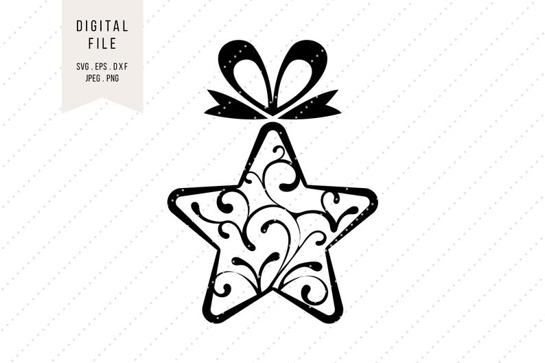 794x529 Christmas Star Clipart With Ornaments Holidays Instant Etsy
