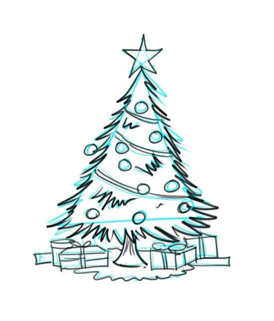 550x643 Christmas Tree Drawing Outline Step