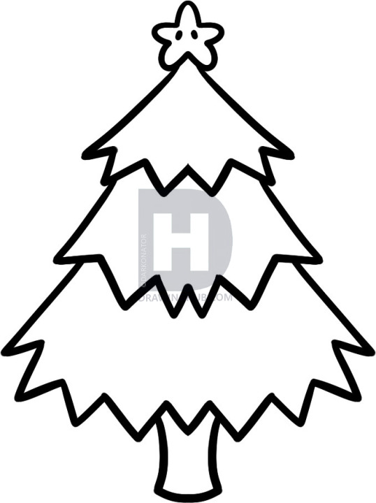 538x720 How To Draw A Christmas Tree For Kids, Step