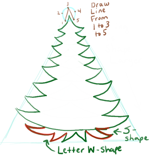 521x543 How To Draw A Christmas Tree With Gifts Presents Under It