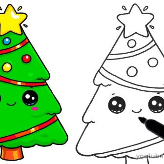 336x336 Christmas Tree Drawing In Easy Tutorial Step
