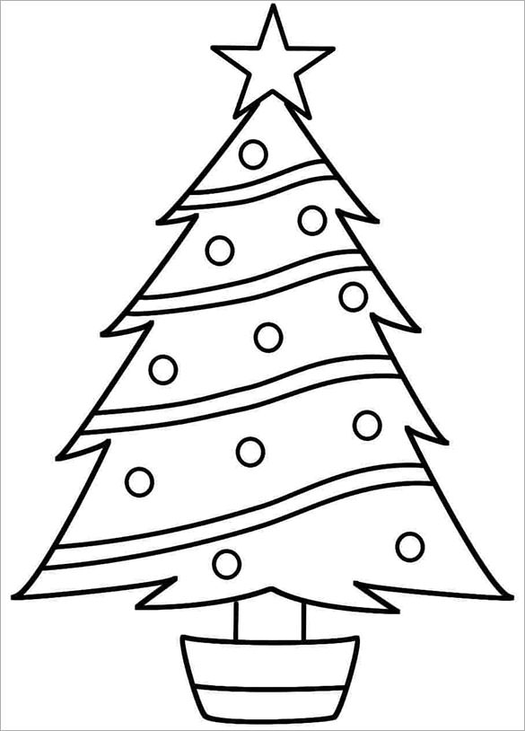 Christmas Tree Drawing Template | Free download best ...