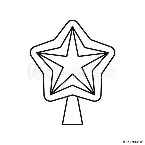 500x500 Star For Christmas Tree Icon In Outline Style Isolated On White