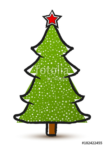 357x500 Vector Drawing Abstract Christmas Tree With A Star And Snow