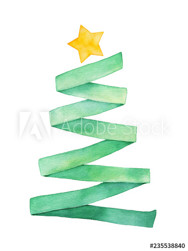 374x500 Watercolour Illustration Of Green Ribbon Folded As Cute Christmas