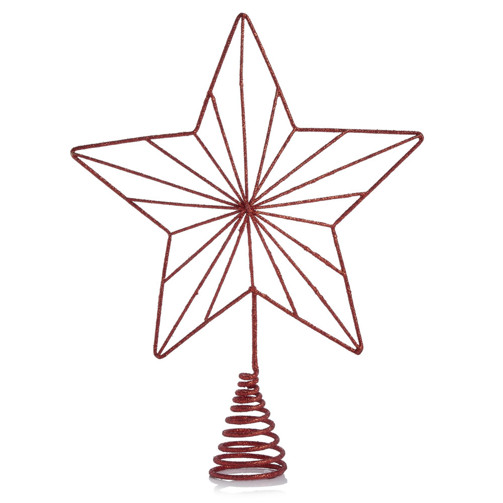 1000x1000 Wilko Country Christmas Copper Glitter Star Christmas Tree Topper