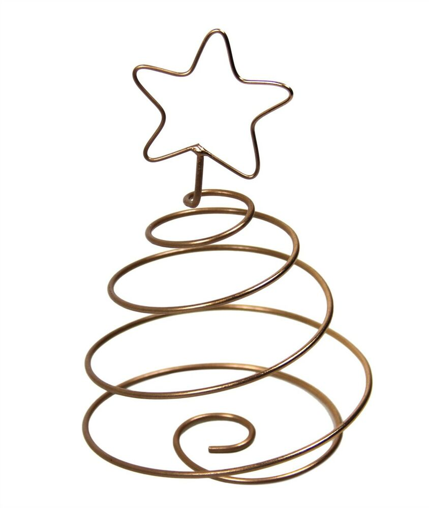 844x1000 Copper Finish Wire Spiral Christmas Tree Star Decoration X