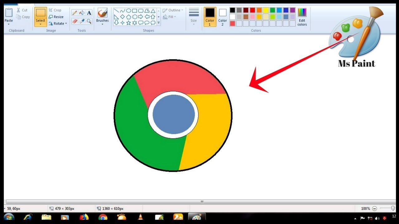 1280x720 Ms Paint Drawing How To Draw Google Chrome Logo In Ms Paint